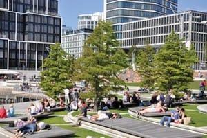 Hamburg: HafenCity, Sandtorpark - Grasbrook