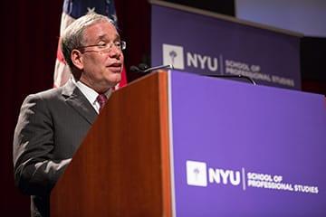 New York City Comptroller Scott Stringer, speaking at NYU. (New York University)