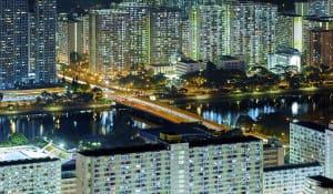Aerial view of Hong Kong city.
