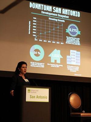 Lori Houston, assistant city manager of San Antonio, speaking at theULI Texas Forum in San Antonio.